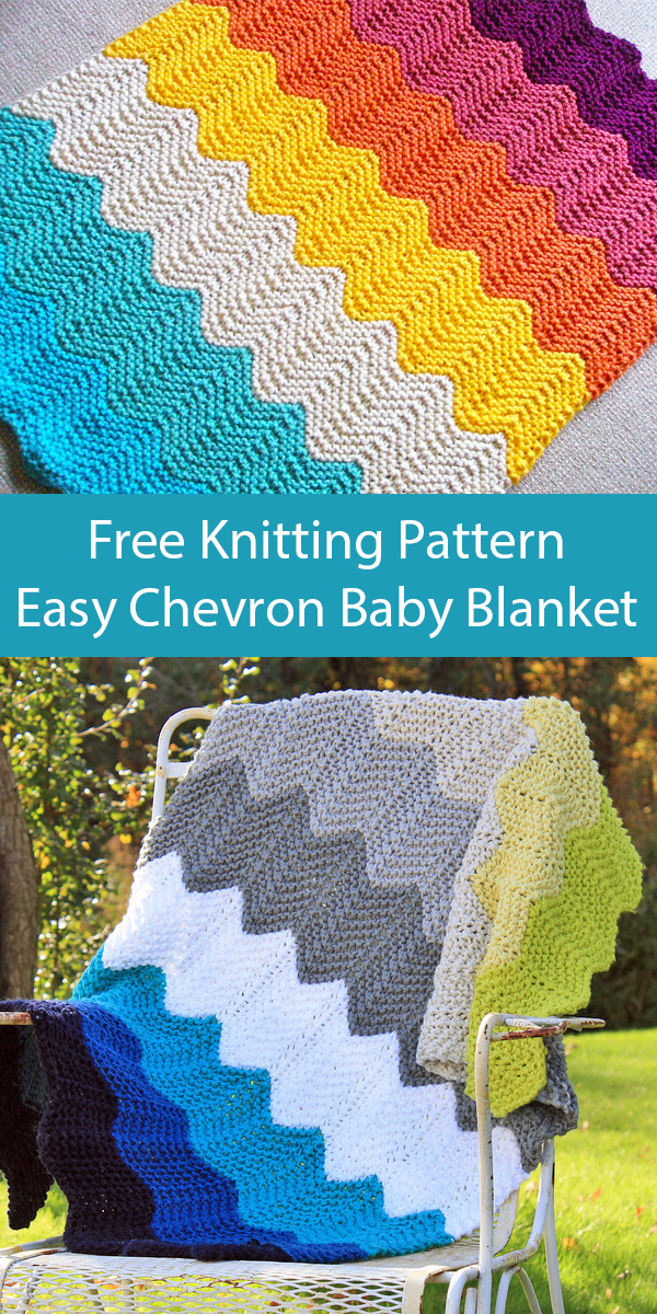 Free Knitting Pattern for Easy Quick Chevron Baby Blanket