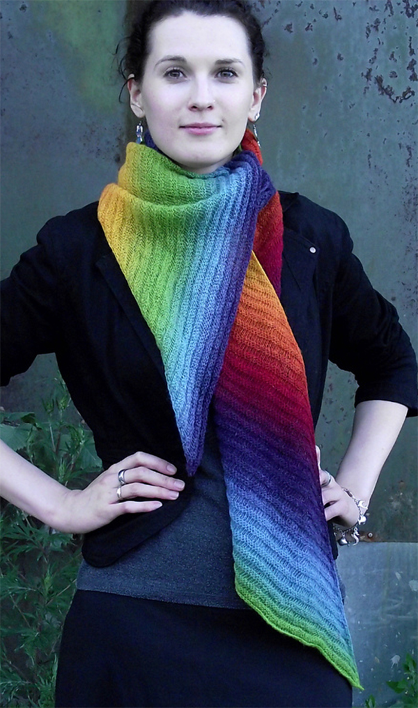 Knitting Pattern for Pseudo Shibori Scarf