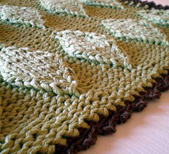 Free Knitting Pattern for Puffy Diamonds Bath Mat