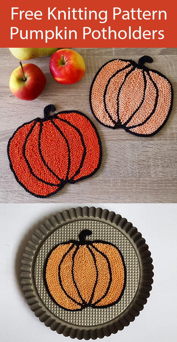 Free Knitting Pattern Pumpkin Coasters or Potholders