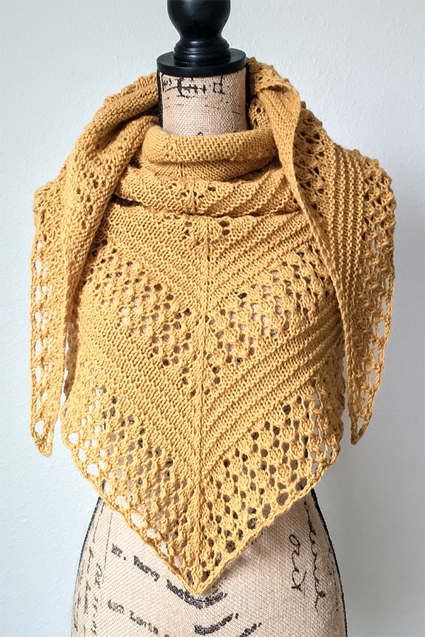 Knitting pattern for Pumpkin Spice Shawl