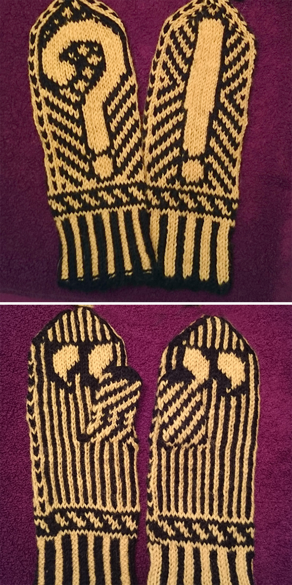 Free Knitting Pattern for Punctuation Mittens