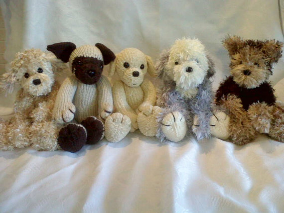 Knitting patterns for 5 puppies: Cockapoodle Labrador Pug Sheepdog Yorkshire Terrier and more dog knitting patterns