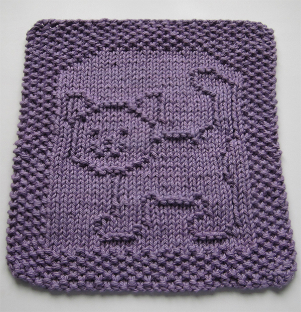 Free Knitting Pattern for Purrfect Cloth or Bib