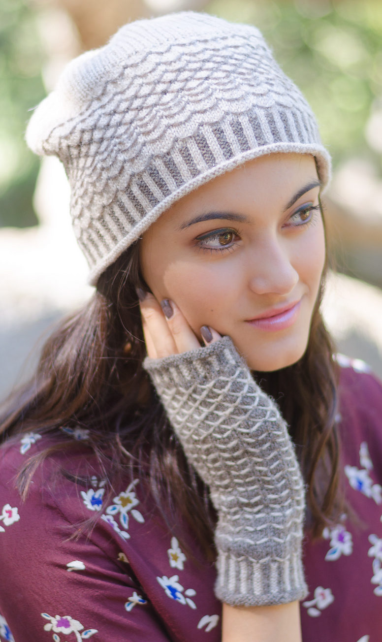 Knitting Pattern for Quilted Lattice Hat and Mitts