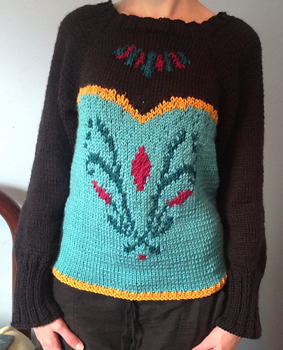 Free Knitting Pattern for Queen Elsa Coronation Sweater