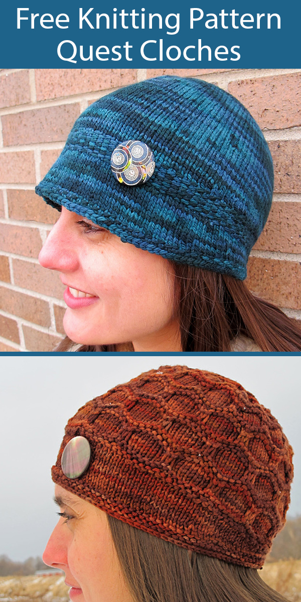 Free Knitting Pattern for Quest Cloche Hat 2 Styles