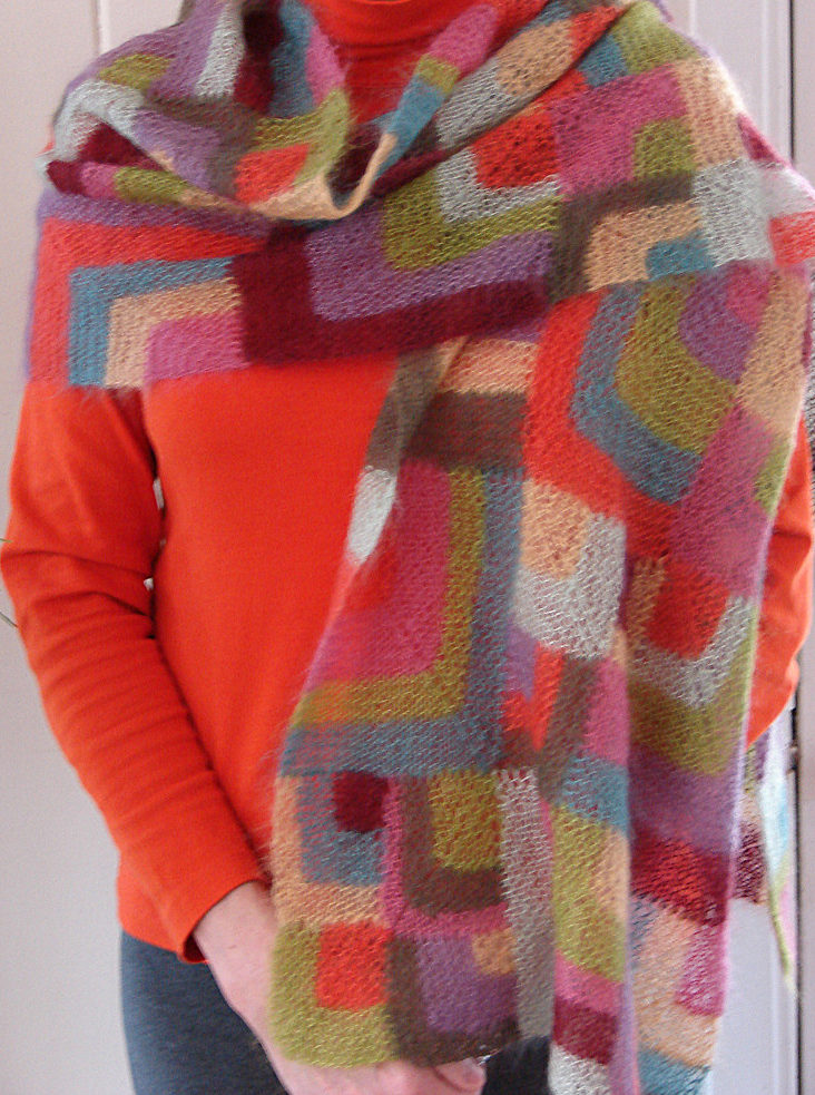 Free Knitting Pattern for Modern Quilt Wrap