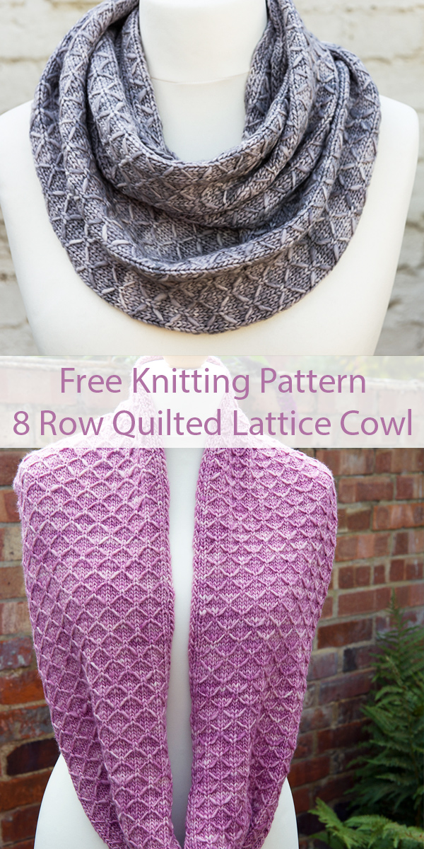 Free Knitting Pattern for 8 Row Repeat Quilted Lattice Cowl