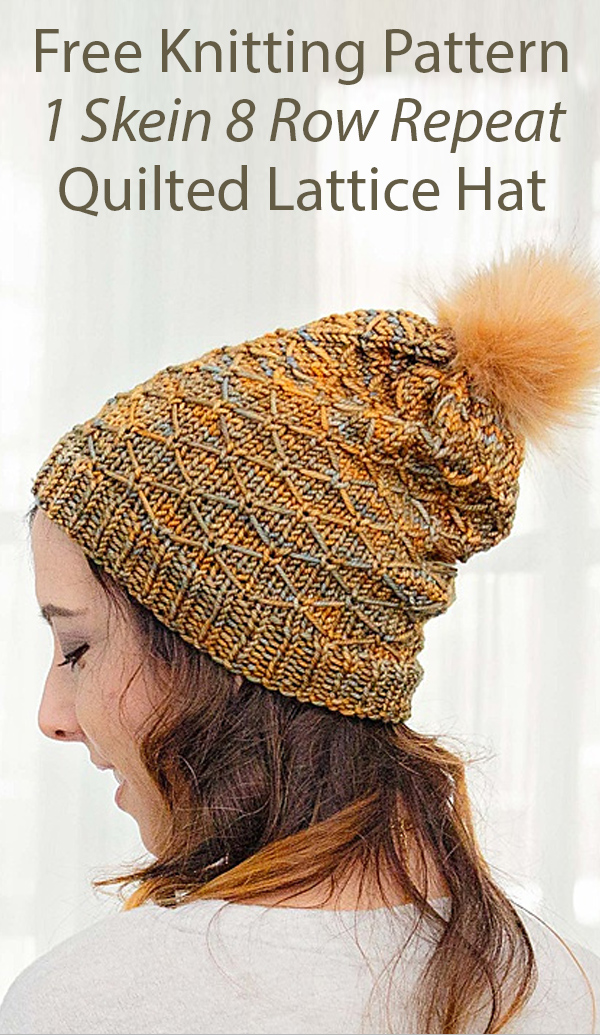 Free Knitting Pattern for 1 Skein 8 Row Repeat Quilted Lattice Hat in Bulky Yarn