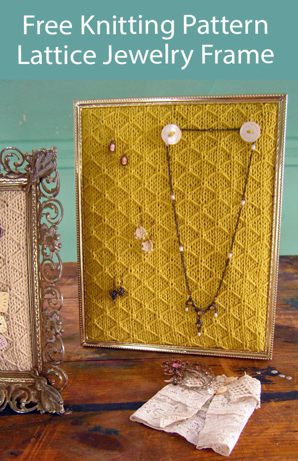 Free Knitting Pattern Quilted Lattice Jewelry Frame