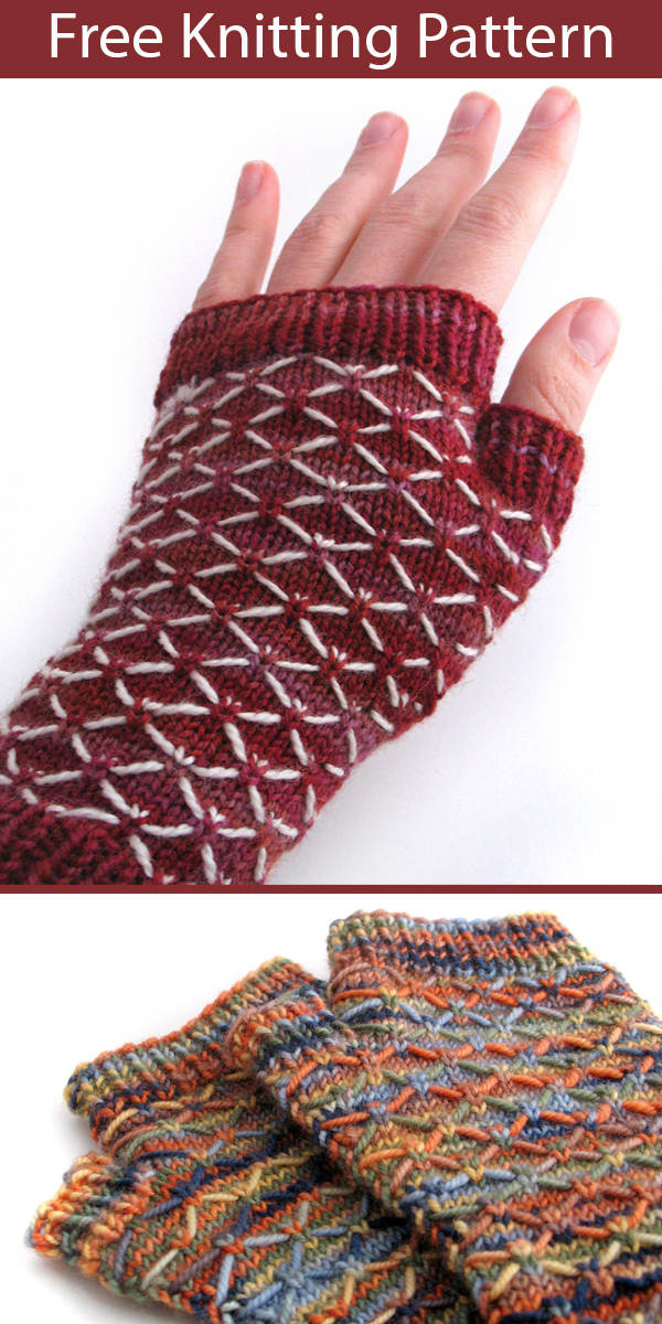 Free Knitting Pattern for Quilted Lattice Mitts