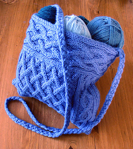 Free Knitting Pattern for Quinn Cabled Bag