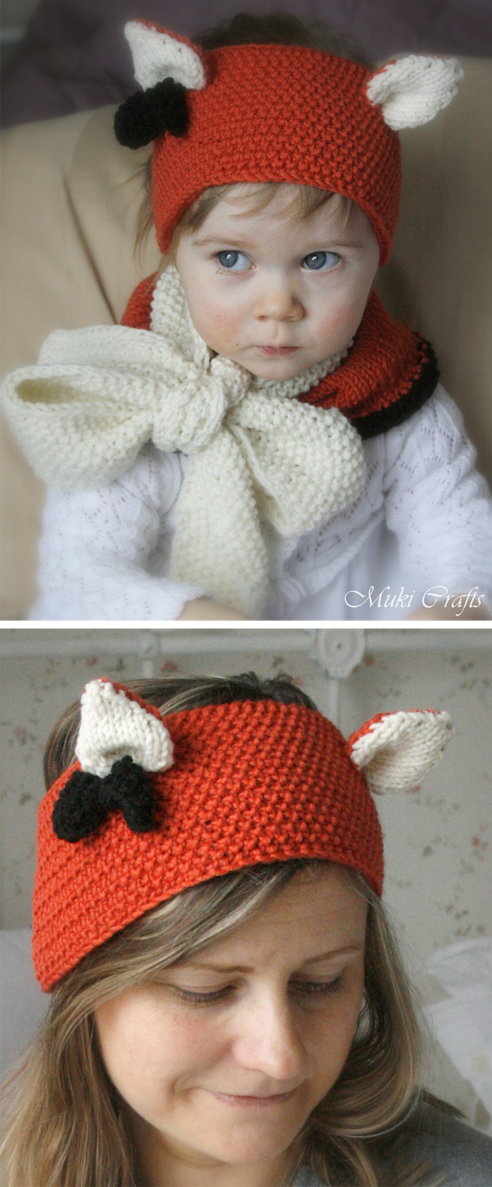 Free Knitting Pattern for Quinn Fox Headband and Cowl