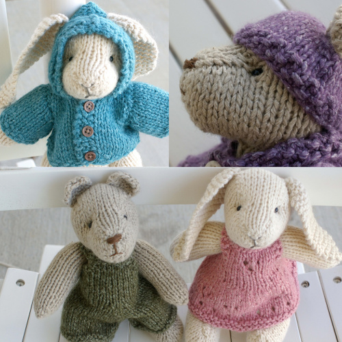 Rabbit and Bear plus 5 items of clothing Free Knitting Pattern | Free Bunny Rabbit Knitting Patterns at http://intheloopknitting.com/free-bunny-knitting-patterns