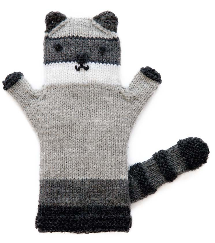 Free Knitting Pattern for Raccoon Puppet