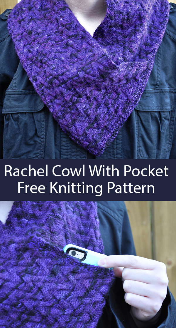 Free Knitting Pattern for 8-Row Cowl With Pocket
