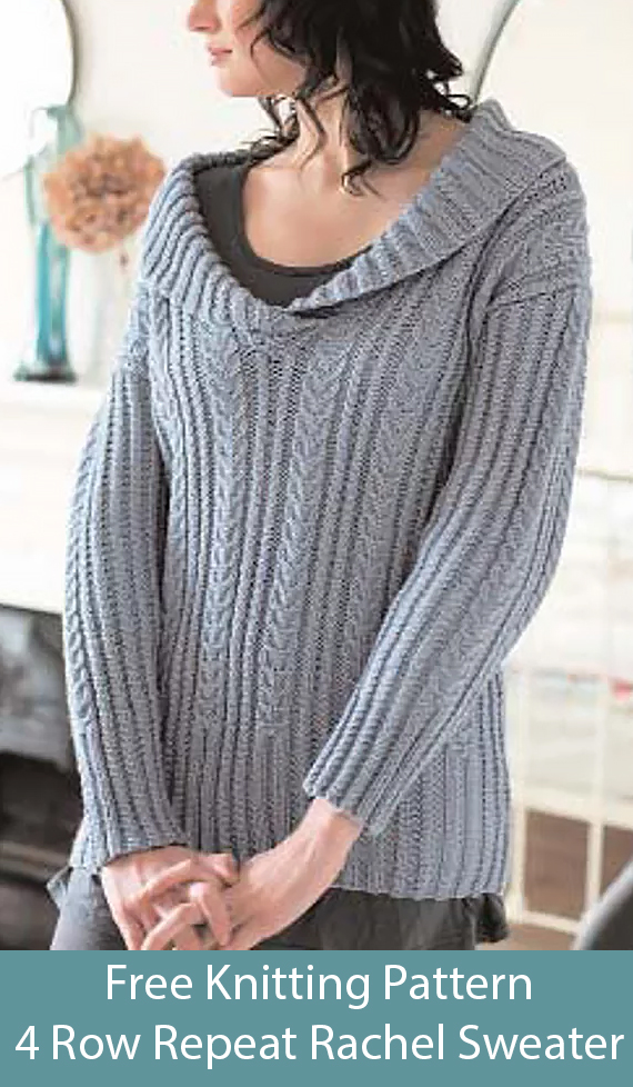 Free Knitting Pattern for 4 Row Repeat Rachel Sweater
