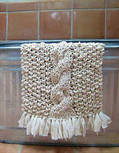 Free Knitting Pattern for Cable Rag Rug