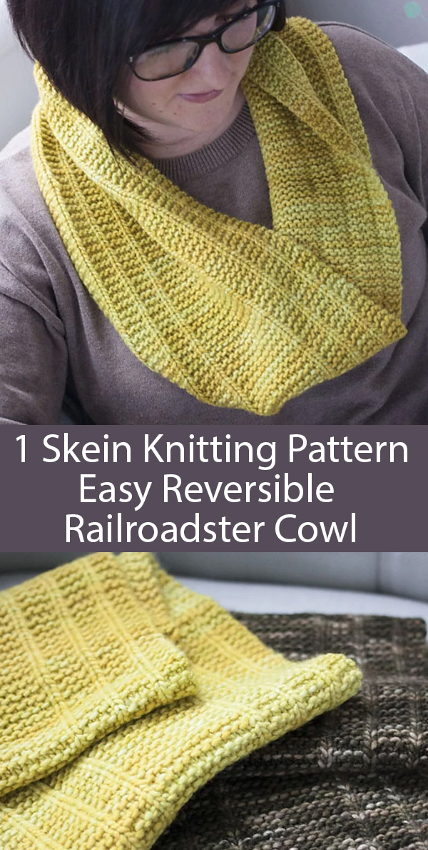 Knitting Pattern for 1 Skein Easy Reversible Railroadster Cowl