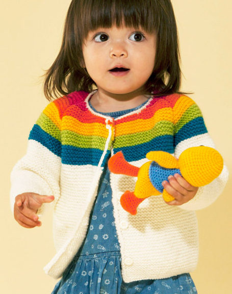 Free Knitting Pattern for Rainbow Cardigan