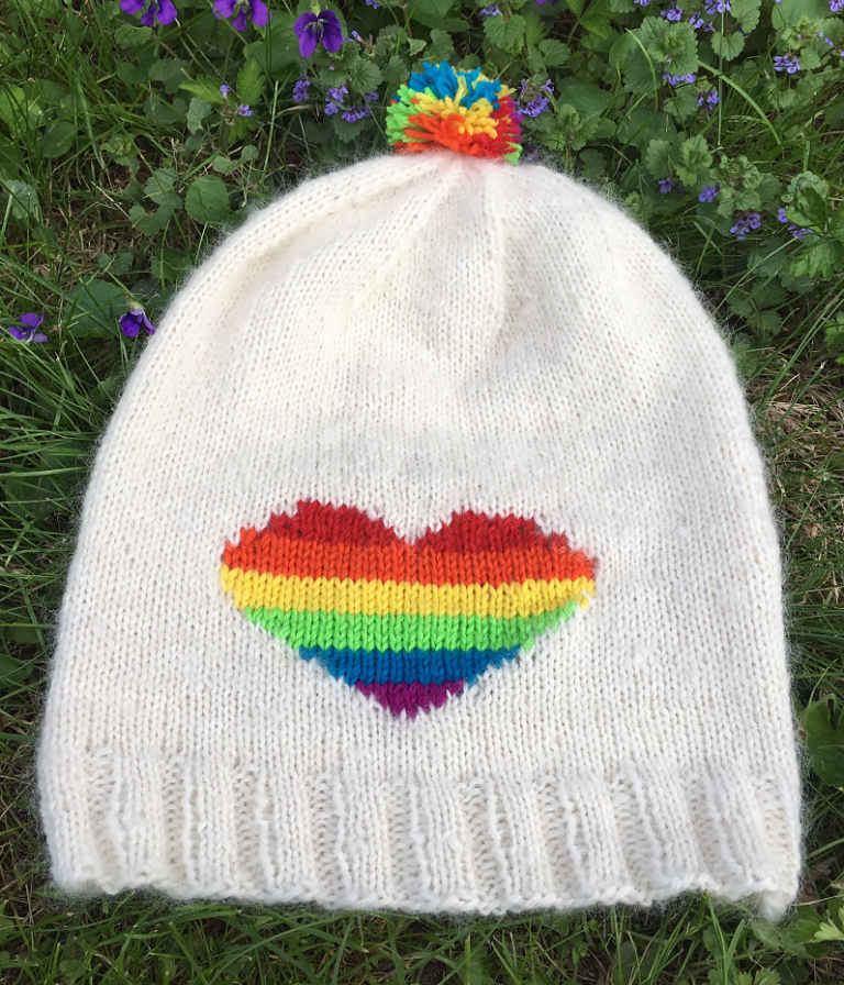 Free Knitting Pattern for Rainbow Heart Hat