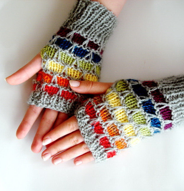 Knitting Pattern for Rainbow Honeycomb Fingerless Mitts