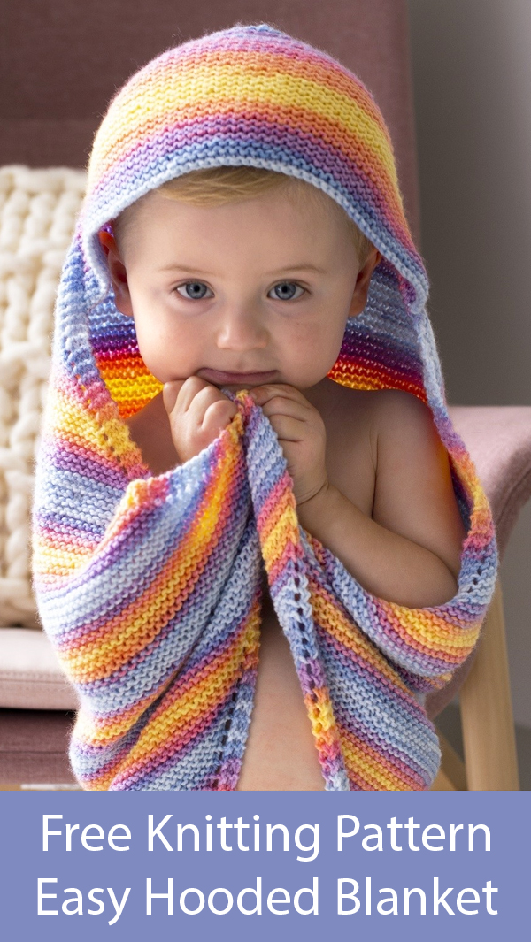 Free Knitting Pattern for Rainbow Hooded Afghan