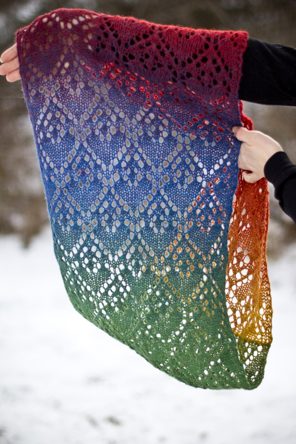 Knitting Pattern for Rainbow Heart Lace Infinity Scarf Cowl