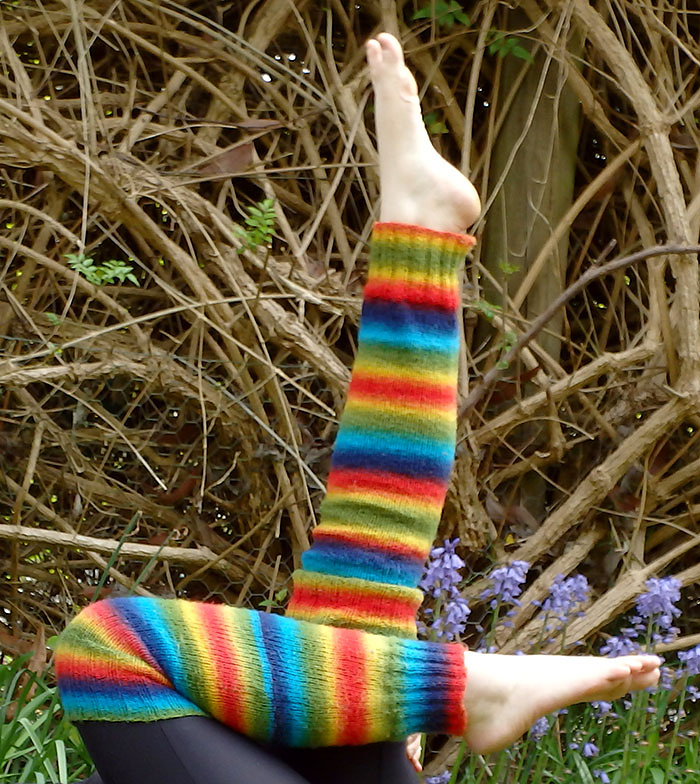 Free Knitting Pattern for Rainbow Legwarmers