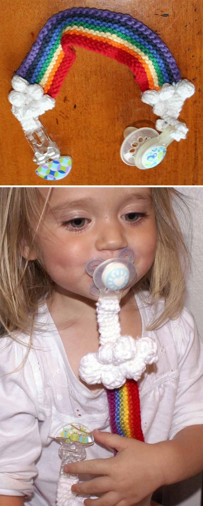 Free Knitting Pattern for Rainbow Pacifier Keeper