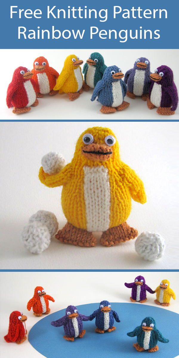 Free Knitting Pattern for Rainbow Penguins