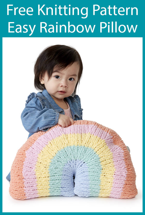 Free Knitting Pattern for Easy Rainbow Pillow