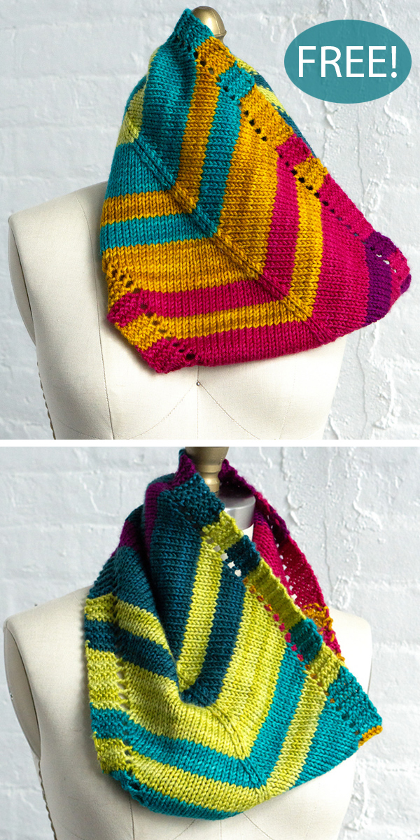 Free Knitting Pattern for Rainbow Road Cowl