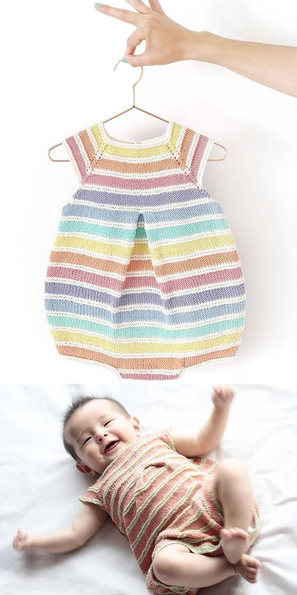 Free Knitting Pattern for Rainbow Romper