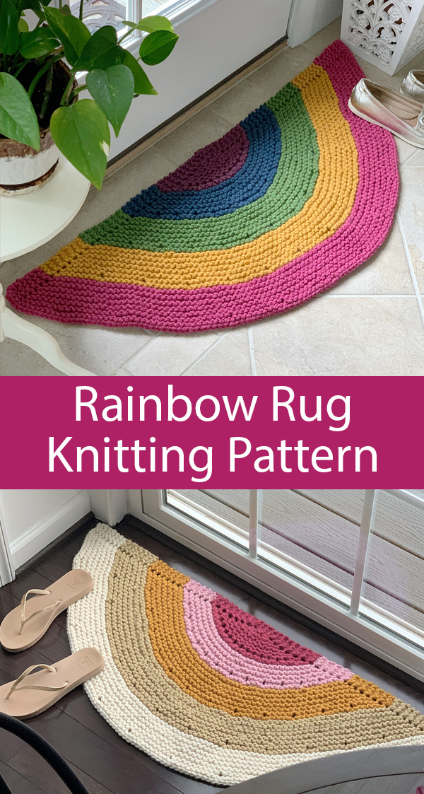 Knitting Pattern for Rainbow Rug