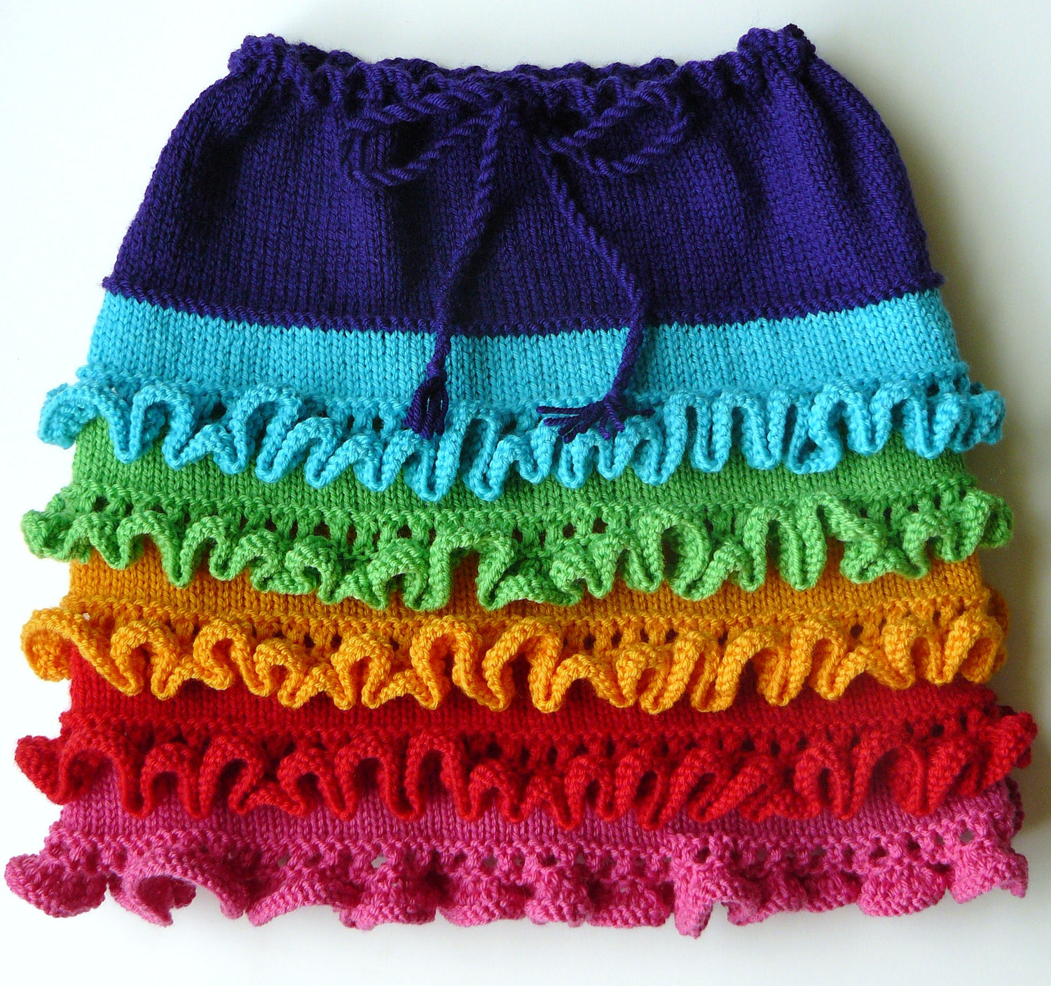 Knitting Pattern for Rainbow Tiered Skirt
