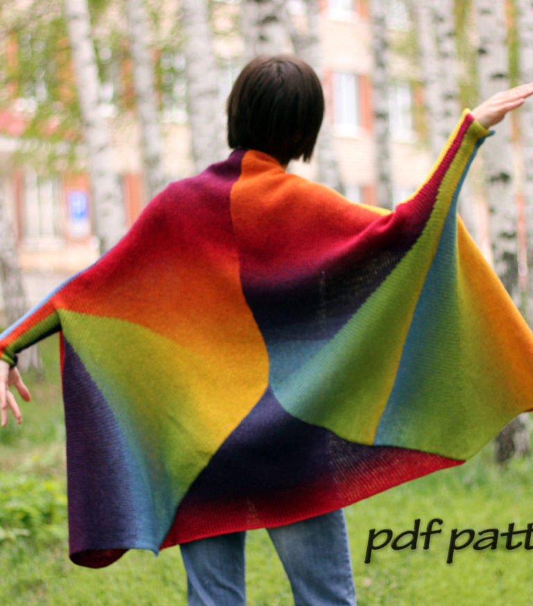 Knitting Pattern for Rainbow Cardigan