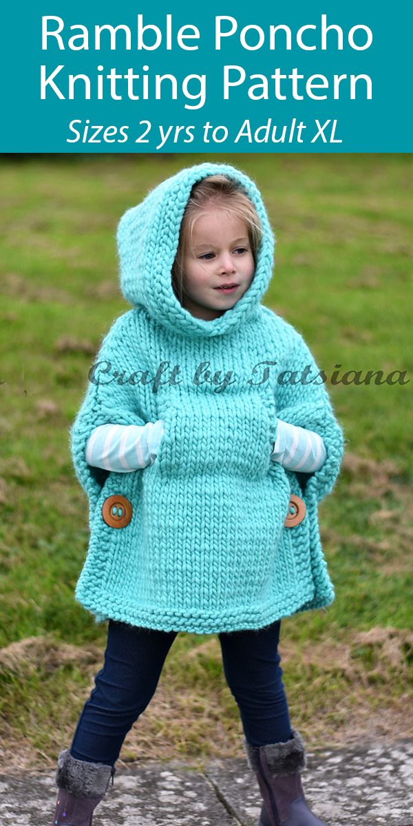 Knitting Pattern for Ramble Poncho For Adults and Children