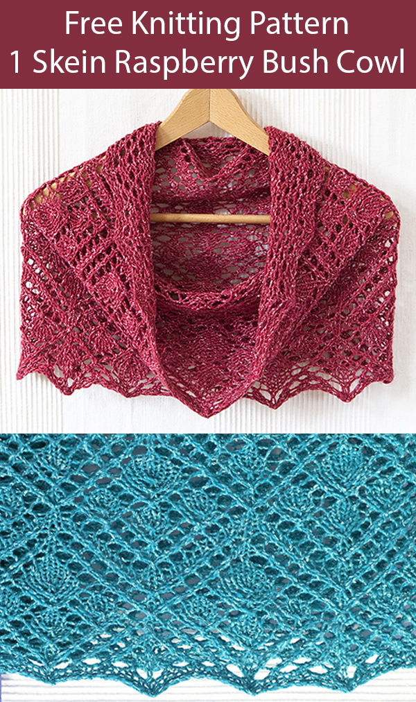 Free Knitting Pattern for 1 Skein Raspberry Bush Cowl in Aran Weight Yarn