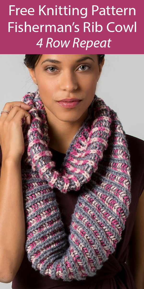 Free Cowl Knitting Pattern 4 Row Repeat Raspberry Fisherman's Rib Cowl