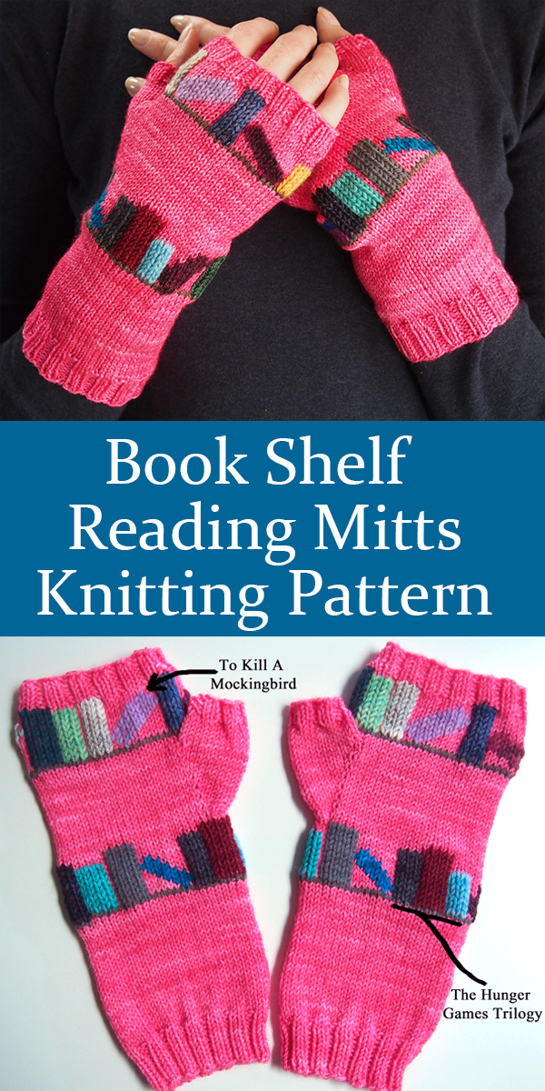 Knitting Pattern for Book Shelf Reading Mitts