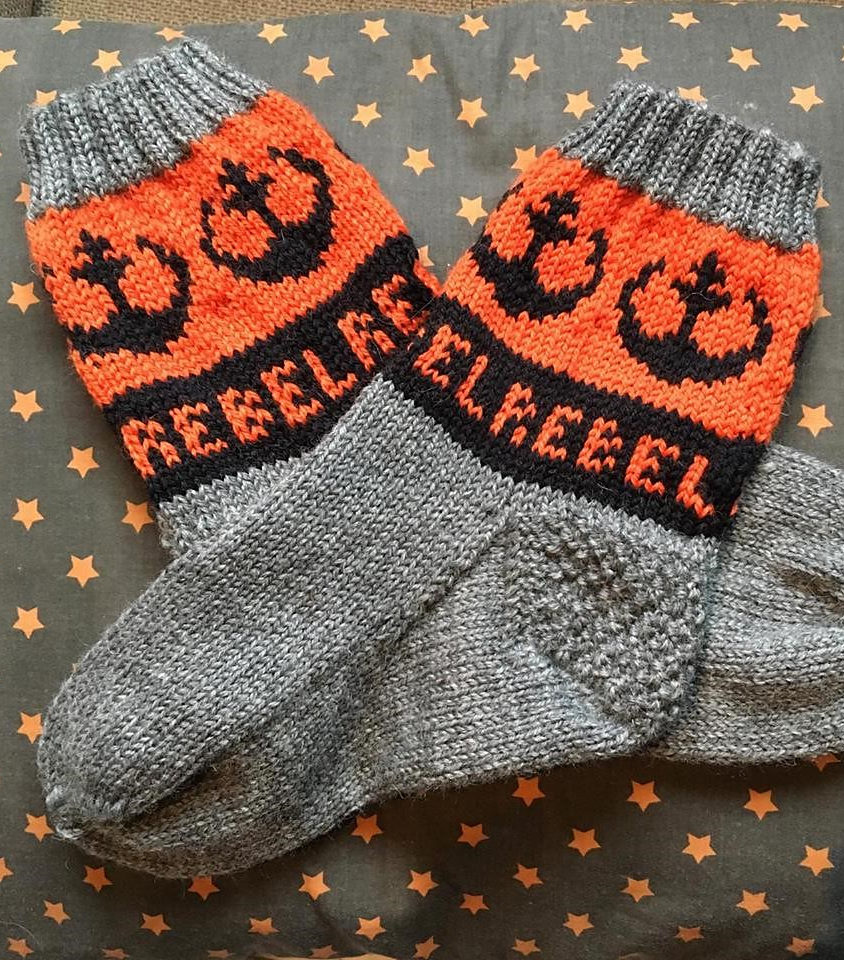Free Knitting Pattern for Rebel Alliance Socks