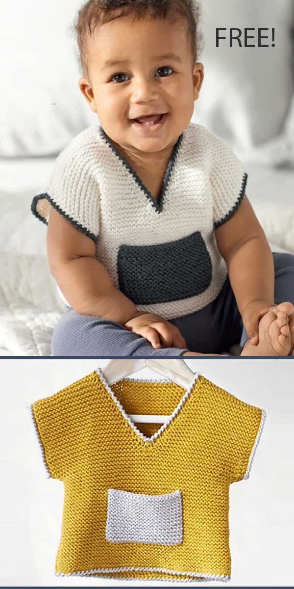 Free Knitting Pattern for Baby Top With Pocket Sizes Newborn - 18 months