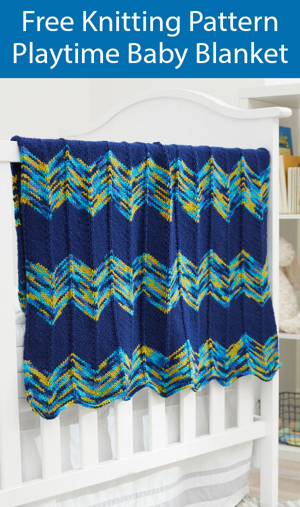 Free Knitting Pattern for 2 Row Playtime Baby Blanket