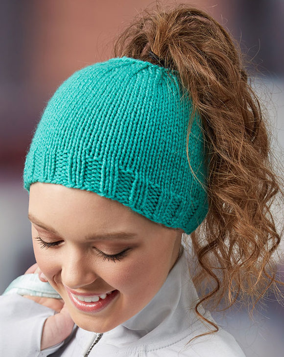 Free Knitting Pattern for Easy Messy Bun Hat