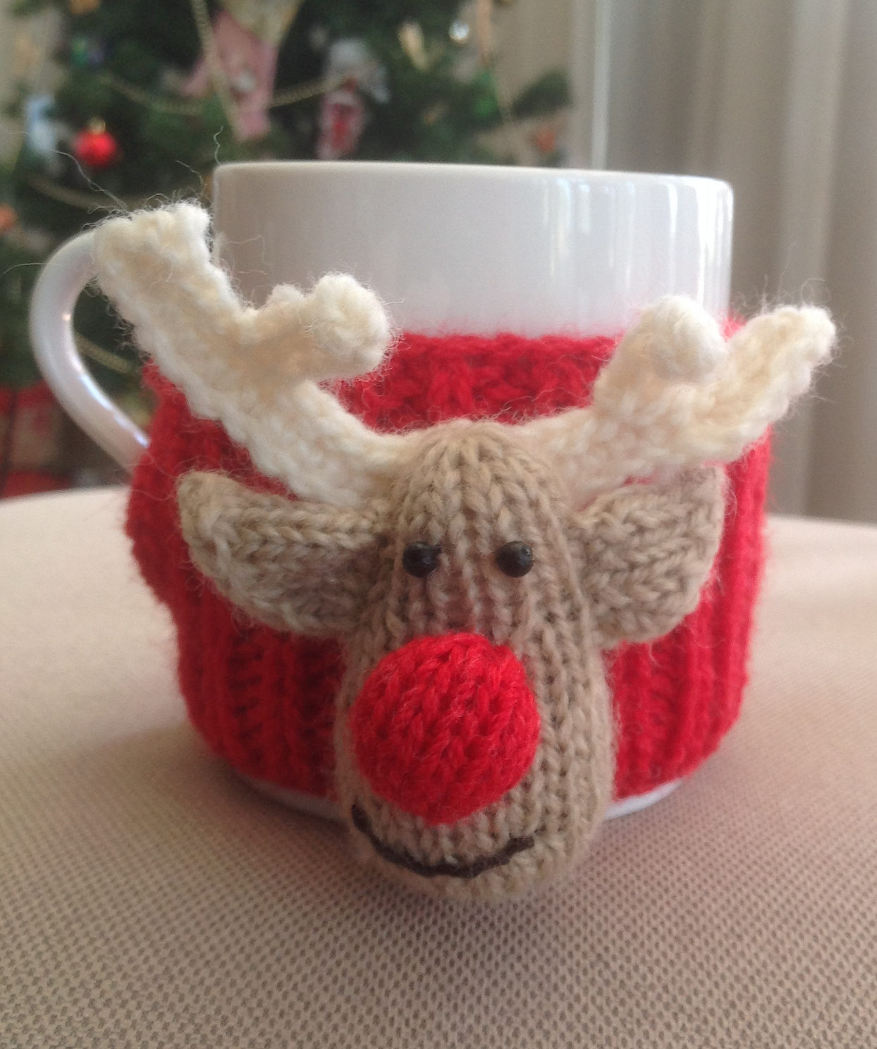 Free Knitting Pattern for Reindeer Cup Cosy