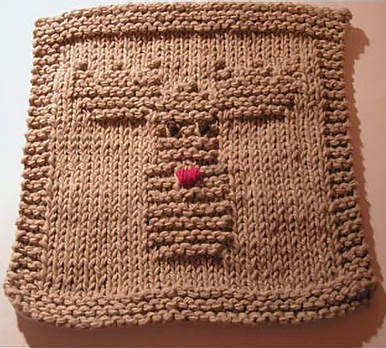 Free Knitting Pattern for Easy Reindeer Dishcloth