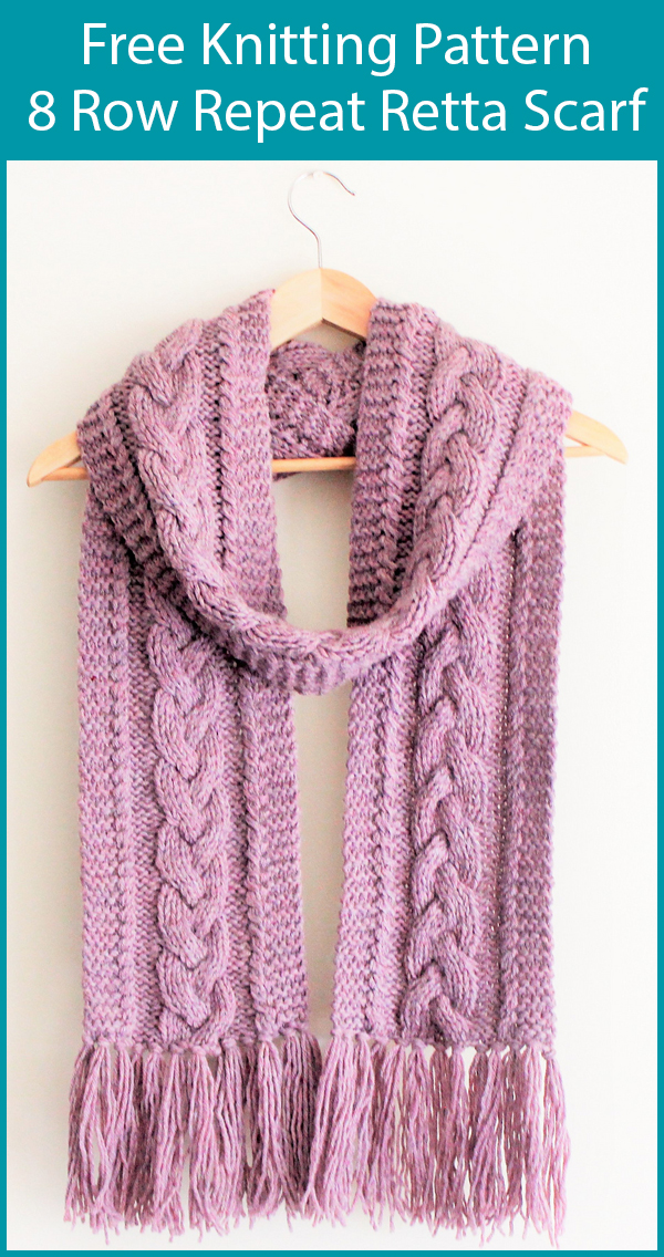 Free Knitting Pattern for 8 Row Repeat Retta Scarf