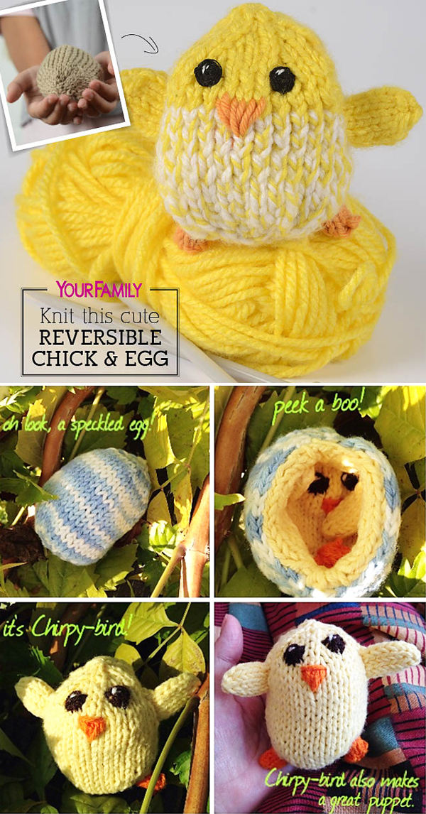 Free Knitting Pattern for Reversible Baby Chick and Egg